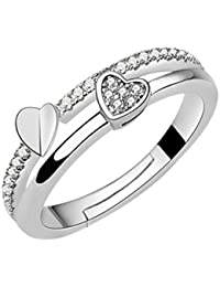 karatcart Elegant Austrian Crystal Silver Platinum Plated Adjustable Ring for Women
