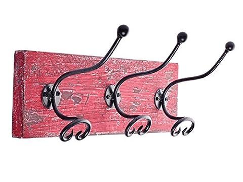 Store Indya, Murale Red Distressed Concu Mango Bois et fer Crochet Coat Hanger mur Entryway Crochets Garment Hat rack