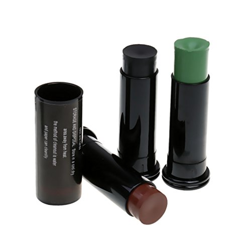 Gazechimp 3x Plano Camo Palillo de Pintura Accesorios para Cara Camuflaje Perfecto Color Negro + Verde + Marron