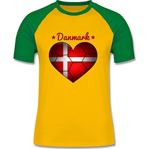 Handball - Handballherz Dänemark - zweifarbiges Baseballshirt für Männer Gelb/Grün