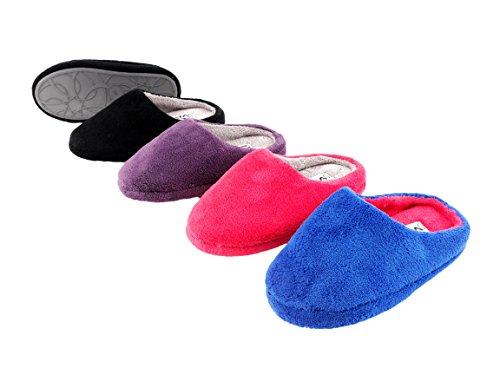 Pantofole Da Donna Pantofole In Microfibra Velcro E Suola Antiscivolo Viola