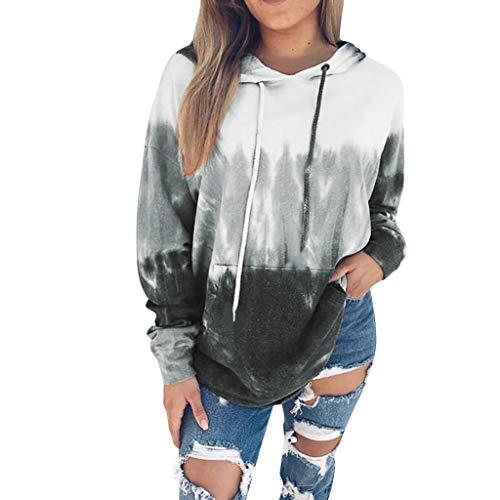 Alwayswin Damen Lose Farbverlauf Sweatshirt Langarm Druck Pullover mit Kapuze Herbst Winter Mode Hoodie O-Ausschnitt Beiläufige Lange Hülsen Oberteile Tuniken Bluse T-Shirt