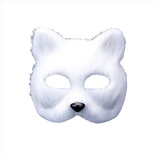 Maske Cosplay halbes Gesicht Tier Kopfbedeckung Cosplay Halloween-Partei-Kostüm (weiß) ()