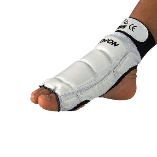 Taekwondo Fußschützer CE weiß oder schwarz (Weiß, XS)