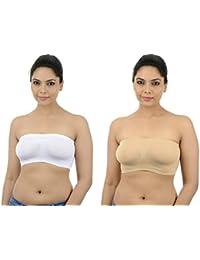 Ishita Fashions Tube Bra Seamless Strapless Bandeau Top (White, Skin) - 2 PCs Combo