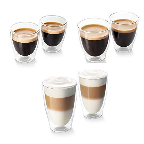 Tchibo Cafissimo Gläser, doppelwandiges Thermoglas 2er Sets (Espresso, Cafe Crema und Latte Macchiato im 3er Set)