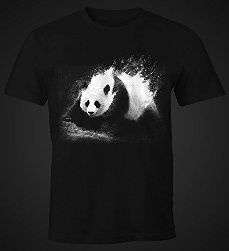 Herren T-Shirt Panda Splash Moonworks® Schwarz