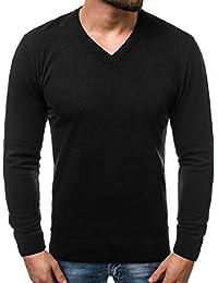 689f95d563c29c OZONEE Herren Strickpullover Pullover Feinstrick Sweatshirt Pulli Modern  Basic V-Neck O 6002