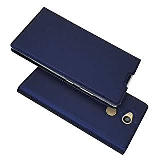 BoxTii Sony Xperia L2 Hülle, Magnetisch Dünn Edles Leder Schutzhülle mit Frei Panzerglas Displayschutzfolie für Sony Xperia L2 (Blau)