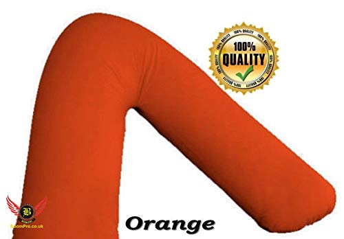 BoomPro V SHAPED PILLOW CASE COVER PREGNANCY MATERNITY ORTHOPAEDIC SUPPORT NURSING PILLOW CASE ONLY (Orange)