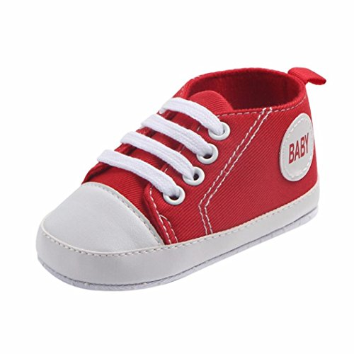huhe Turnschuhe Hirolan Sportschuhe Lauflernschuhe Neugeborenes Säugling Baby Jungen Mädchen Solide Segeltuch Anti-Rutsch Weich Schuhe Sneaker (11, Rot) (Kind Elf Schuhe)