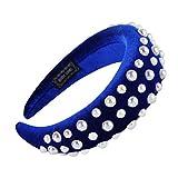 Zegeey Damen Stirnband Haarreif Einfarbig Schwamm Retro MäDchen Haarschmuck Haargummis Haarband Verfassungs Partei Headwear Yoga Sport(D1-Blau)