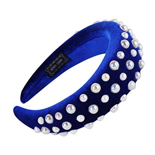 Honestyi Mode Schwamm Samt Perle Haarband Frauen Haar Kopf Hoop Mädchen Süßes Stirnband HANDGEMACHTE große Fett Schaum Gold Ring Haarschmuck -