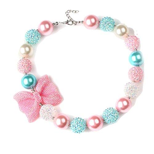 Lovely Fashion geschoben Bubblegum Perlen Halskette pink butterfly Charm Choker für Mädchen Frauen