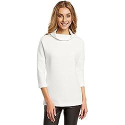 oodji Collection Damen Pullover aus Strukturiertem Stoff mit Hohem Kragen, Weiß, DE 40 / EU 42 / L