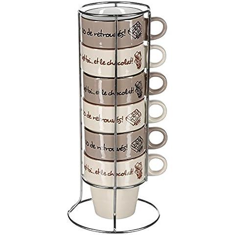 Set di 4 mugs con stampe su support metallico - Colore: GRIGIO TALPA e BEIGE