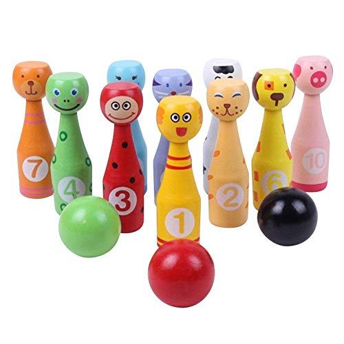 Ebeta Bowlingkugel für Kinder Kegelspiel Mini Tier Bowling Set Bowling Holzspielzeug Pädagogische Interaktive Baby Hands-on Fähigkeit entwickeln Kinder Geburtstag Geschenk
