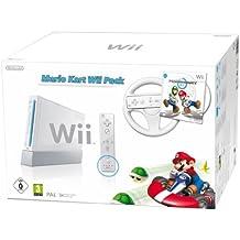 Console Wii blanche + Mario Kart + Télécommande Wii Plus - blanche + Volant Wii blanc