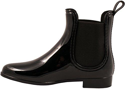 Elara Damen Gummistiefel | Bequeme Lack Stiefeletten | Chelsea Boots Schwarz 2
