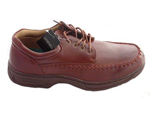 LargChaussures d'homme, Doublé de Cuir, Mocassins, Chaussures à Lacets et Chaussures à Scratch - Large Marron à Lacets