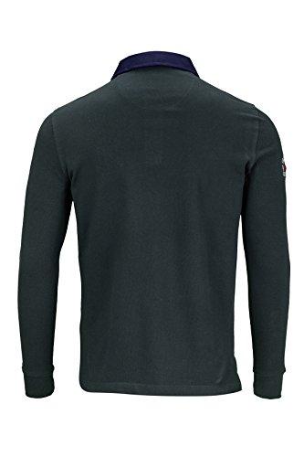 Kitaro Herren Shirt Langarm-Poloshirt College Sonderprogramm Dunkelgruen
