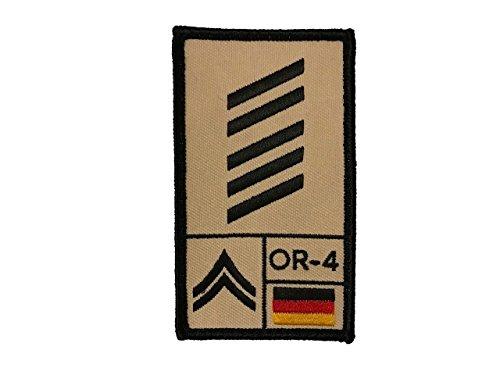 Café Viereck Oberstabsgefreiter Bundeswehr Rank Patch mit Dienstgrad, Deutschlandflagge, NATO-Rang und US-Rank Gestickt mit Klett (Sand) (Nähen Rang)