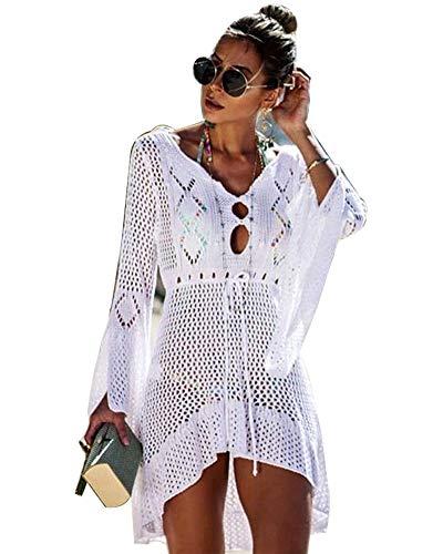 usgestelltes Ärmel Sommer Badeanzug Sexy Knit Openwork Bikini Beach Bademode Cover Up Kurz Kleid ()