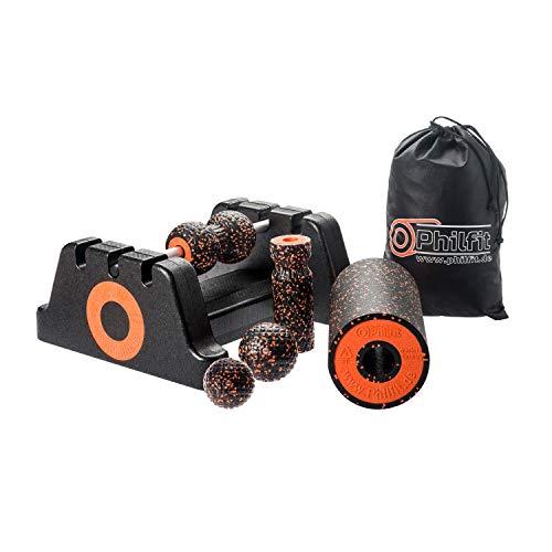 PHILFIT Classic Set Medium, schwarz/orange mit Boden- und Wandhalterung - Medium Wandhalterung