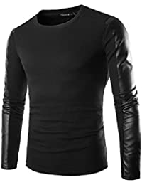Zicac Herren Biker-Langarmshirt mit PU-Leder, Rundhals, Slim Fit