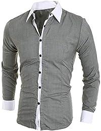 BUSIM Men's Long Sleeve Shirt Fashion Personality Casual Slim Solid Color Buttons Contrast Color T-Shirt Lapel...