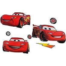 """Set: 3-D Effekt _ Wandtattoo / Fensterbild / Sticker - """" Disney Auto Cars - Lightning McQueen """" - wasserfest - selbstklebend & wiederverwendbar - Pop-Up Aufkleber Wandsticker - Patrick Seestern - für Kinder Jungen - Pop up - Kinder"""