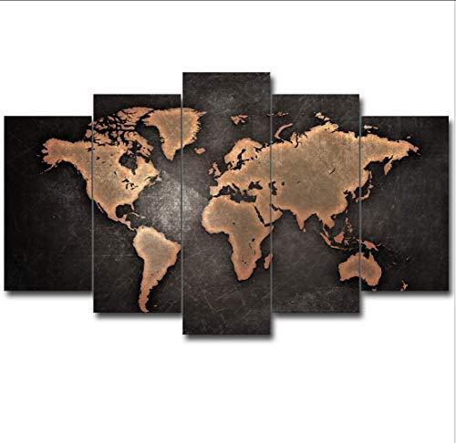 WIVION Leinwand Wandkunst Hintergrund, Vlies Leinwand Bild gerahmt Kunstwerk Malerei Bild Foto Home Decoration Weltkarte Schwarz Kontinent Radierungen,1,S (Bilder Radierung,)