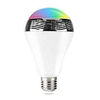1byone ampoule led bluetooth sans fil smart avec haute parleur 7 couleurs support apple android. Black Bedroom Furniture Sets. Home Design Ideas