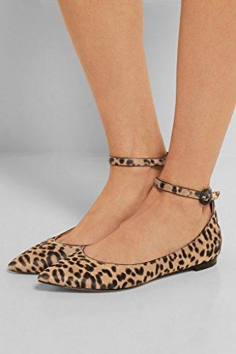 EDEFS - Ballerines Femme - Chaussures Plat - Classiques Pour Femmes - Bride Cheville Léopard