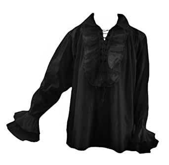 Men's New Romantic Ruffle Pirate Shirt. LARP Victorian Gothic Size L-4XL -  Black - XXX-Large