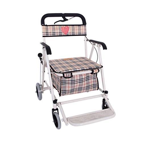 GFHF Ältere Leute, Die Faltender Wanderer, Einkaufswagen Vier Runden Sitzen Können, Schieben Gehender Rahmen-Haupteinkauf