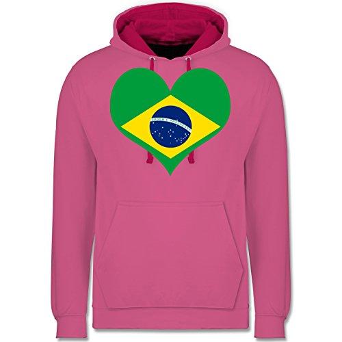 Länder - Brasilien Herz - Kontrast Hoodie Rosa/Fuchsia