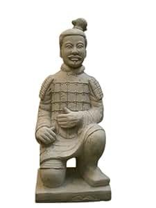Steinfigur Chinesischer Krieger, Figur aus Steinguss