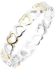 MunkiMix 925 Plata Oro Dorado Anillo Ring Banda Venda Plata Oro Dorado Corazón Heart Alianzas Boda Amor Love Mujer