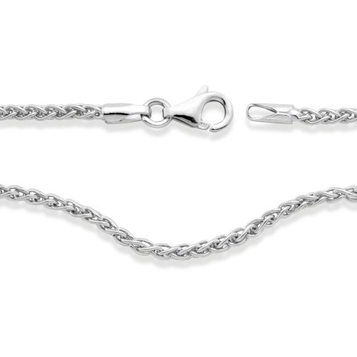 Halskette Silber rhodiniert 42 cm, Beschichtung: rhodiniert, Kettenart: Zopf, Länge (cm): 42 cm, Materialstärke: 1.7 mm, Verschluss: Karabiner, Zielgruppe: unisex