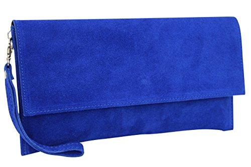 AMBRA Moda Pochette da giorno da donna Borse a mano clutch in vera pelle scamosciata WL811 blu royal
