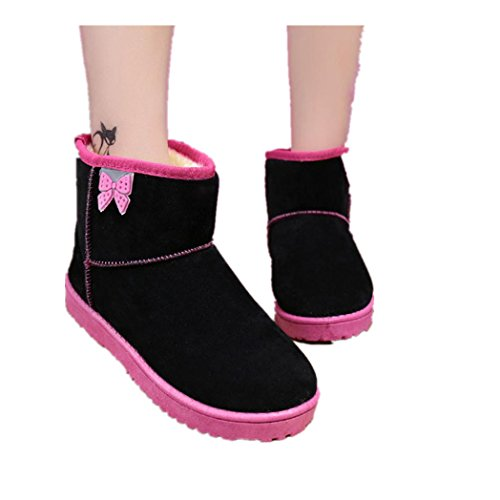 Stiefel Damen Clode® Damen Schuhe Bow Stiefeletten Winter Fur Boots Winterstiefel Warm Casual Flats Boots Schwarz