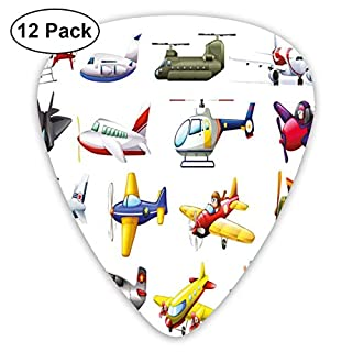 Celluloid Guitar Picks - 12 Pack,Abstract Art Colorful Designs,Digital Representation Of Aero Vehicles Aircrafts Commercial Planes Pattern,For Bass Electric & Acoustic Guitars.