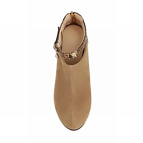 Mee Shoes Damen high heels Reißverschluss Plateau Stiefel Aprikose