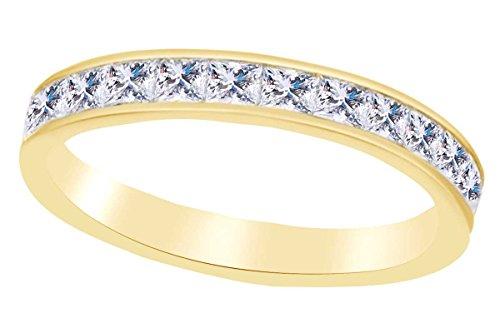 Affy principessa shape zircone bianco eternità fede nuziale in oro massiccio 10k (2.90cttw) e oro giallo, 17,5, colore: yellow, cod. uk-mno-m-cmr-j82532-yg-8.5