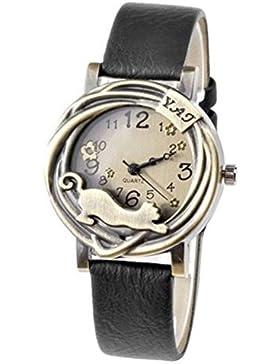 Damen Katze & Blumen Quartz Analog Uhr Armbanduhr Bronze Gehäuse Schwarz