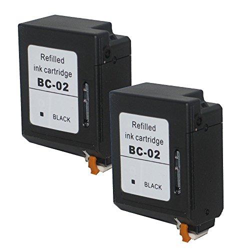 2 Druckerpatronen Tinte für Canon BJC150 BJC210 BJC240 BJC250 BJC10 BJC1000 ersetzen BC-02 - Bc-02 Patrone Schwarz