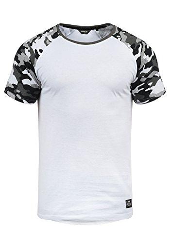 !Solid Cahil Herren T-Shirt Kurzarm Shirt Mit Rundhalsausschnitt Und Camouflage-Muster, Größe:XXL, Farbe:White Grey (G0001)
