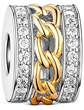 Tinysand Bead Charm in Silber 925mit Zirkonia Gold für Armband Kette für Pandora Stil