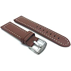 28mm Tan Racer with White Stitching, Genuine Leather Watch Strap Band, with Stainless Steel Buckle, NEW!